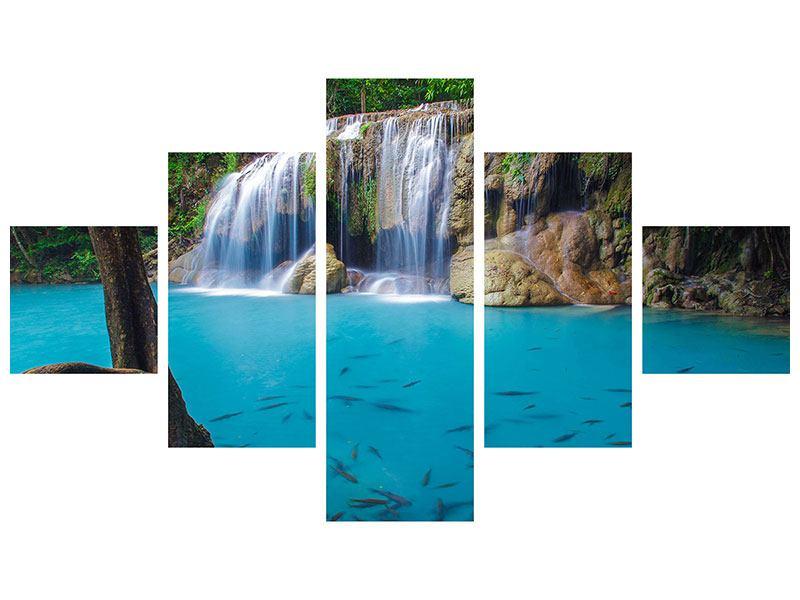 Hartschaumbild 5-teilig Naturerlebnis Wasserfall