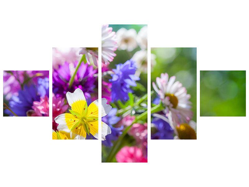 Hartschaumbild 5-teilig XXL Gartenblumen