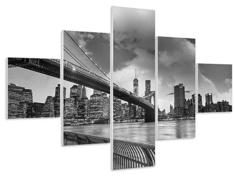 Hartschaumbild 5-teilig Skyline Schwarzweissfotografie Brooklyn Bridge NY