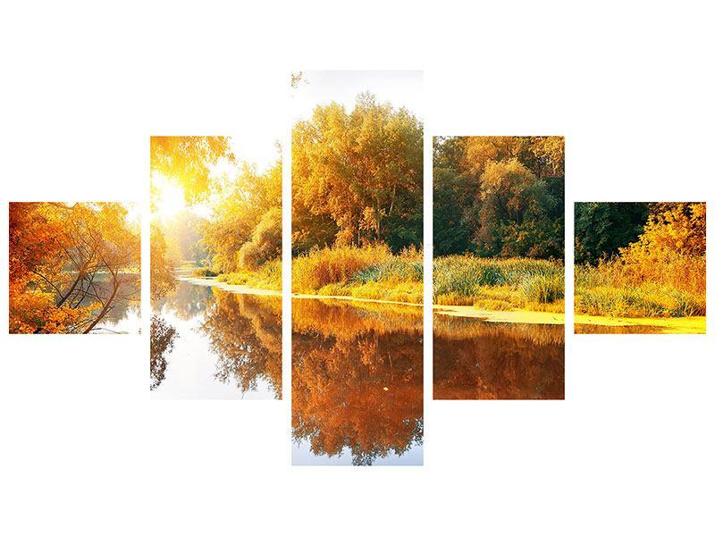 Hartschaumbild 5-teilig Waldspiegelung im Wasser