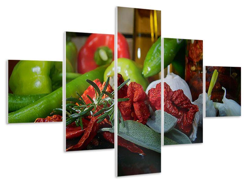 Hartschaumbild 5-teilig Mediterranes Gemüse