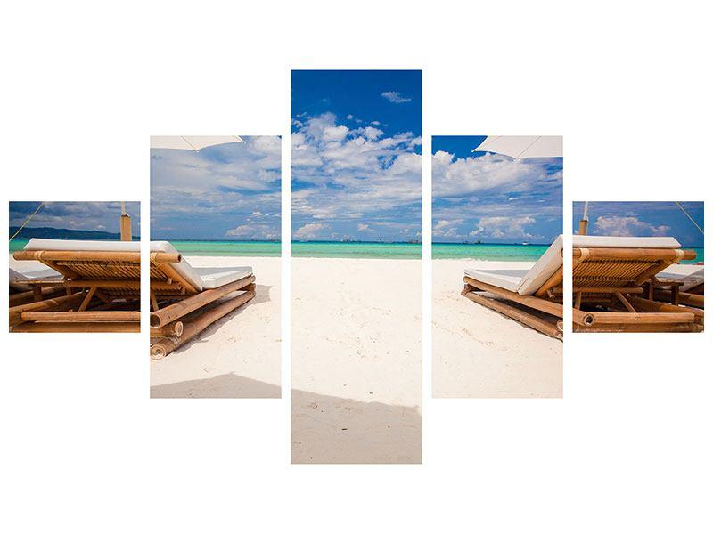 Hartschaumbild 5-teilig Liegen am Strand