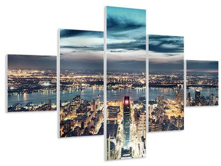 Hartschaumbild 5-teilig Skyline Manhattan Citylights