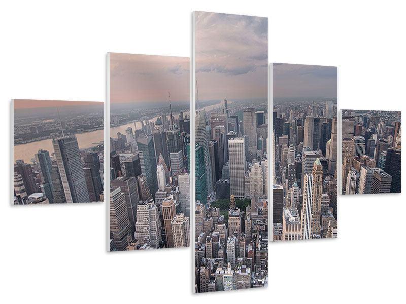 Hartschaumbild 5-teilig Skyline Blick über Manhattan