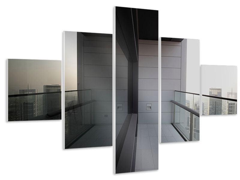 Hartschaumbild 5-teilig Balkon in Dubai
