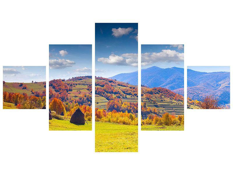 Hartschaumbild 5-teilig Herbstliche Berglandschaft