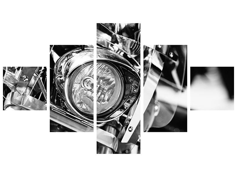 Hartschaumbild 5-teilig Motorrad Close Up