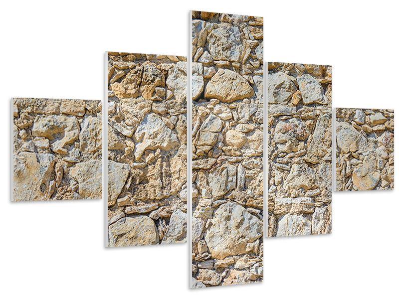 Hartschaumbild 5-teilig Sandsteinmauer