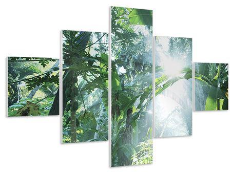Hartschaumbild 5-teilig Dschungelstar