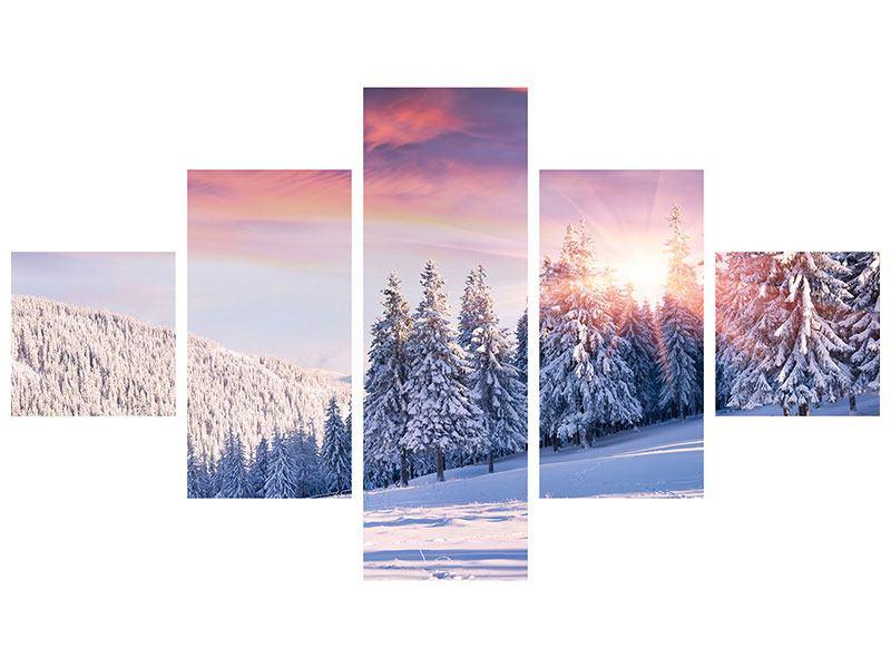 Hartschaumbild 5-teilig Winterlandschaft