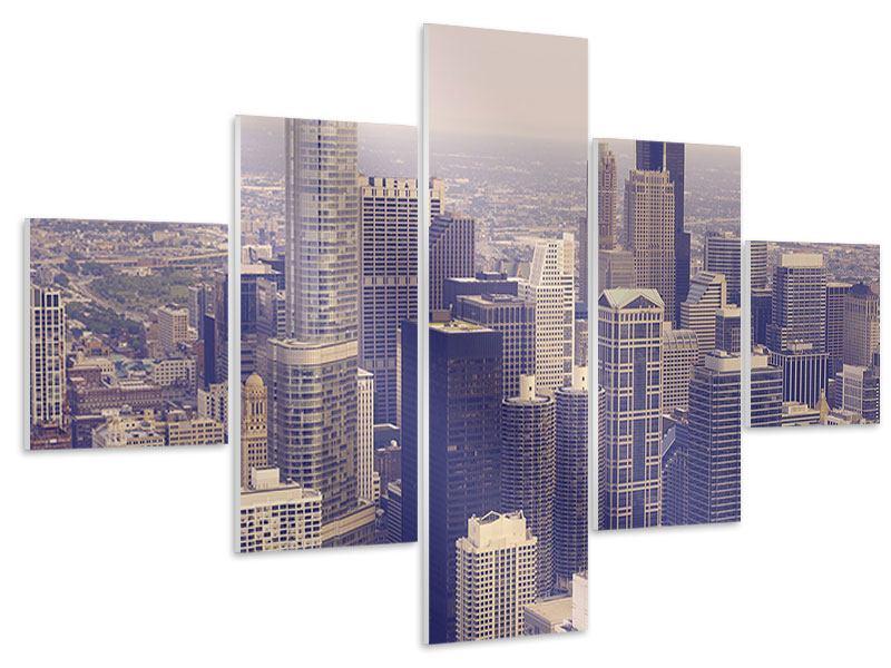 Hartschaumbild 5-teilig Skyline Chicago in Sepia