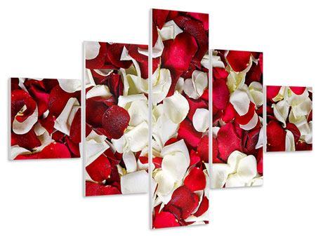 Hartschaumbild 5-teilig Rosenblätter