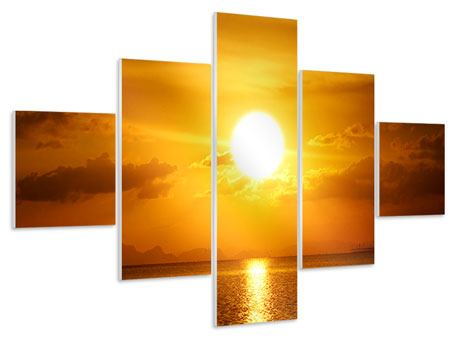 Hartschaumbild 5-teilig Sonnenuntergang See
