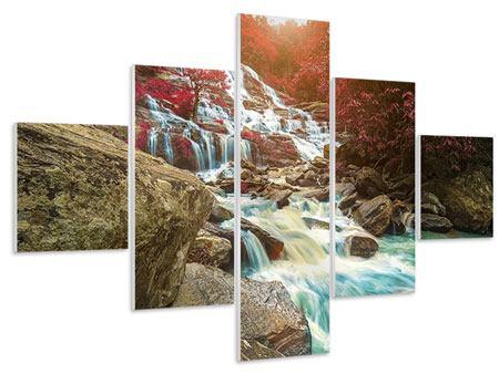 Hartschaumbild 5-teilig Exotischer Wasserfall