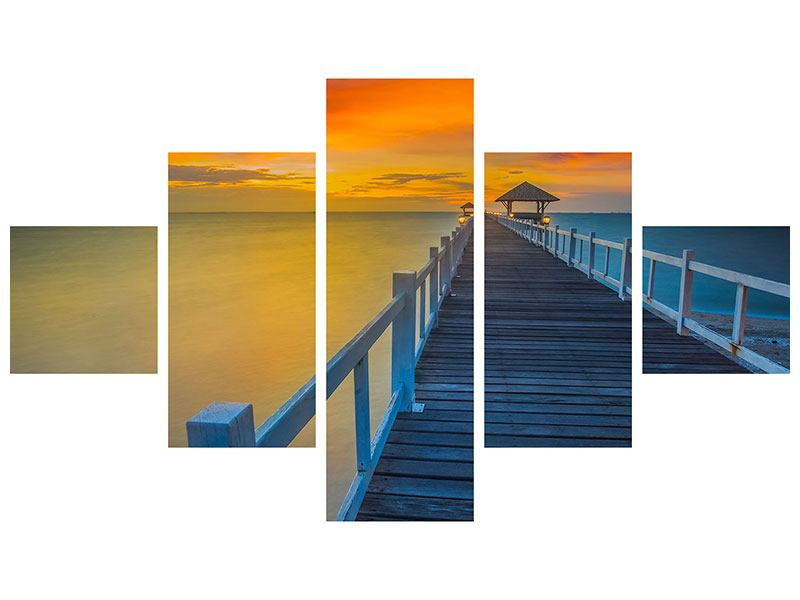 Hartschaumbild 5-teilig Eine Holzbrücke im fernen Osten