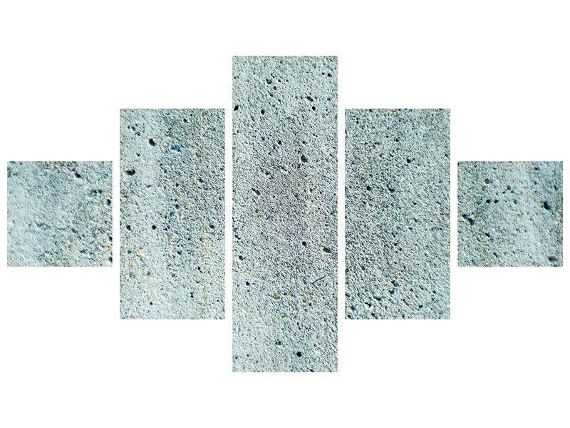 Hartschaumbild 5-teilig Beton in Grau