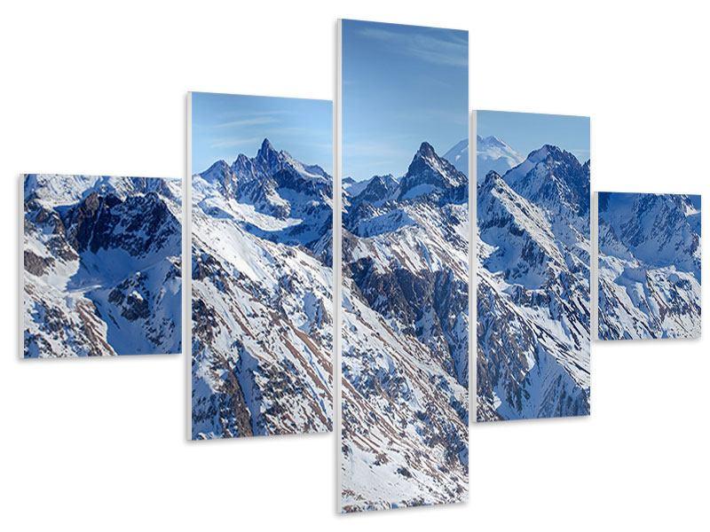 Hartschaumbild 5-teilig Gipfelspitzen