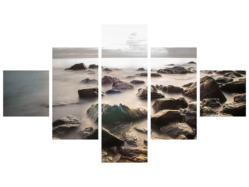 Hartschaumbild 5-teilig Steine am Strand