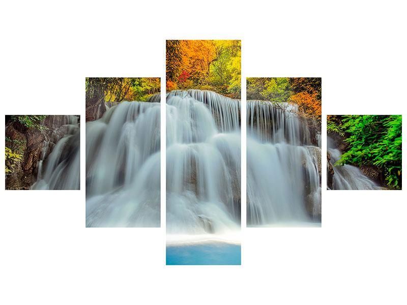 Hartschaumbild 5-teilig Fallendes Gewässer