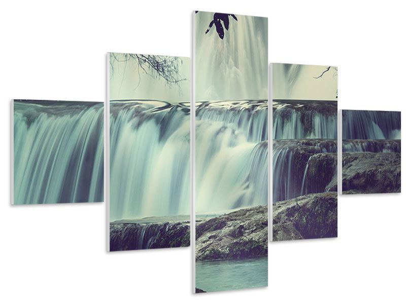 Hartschaumbild 5-teilig Wasserfall Mexiko