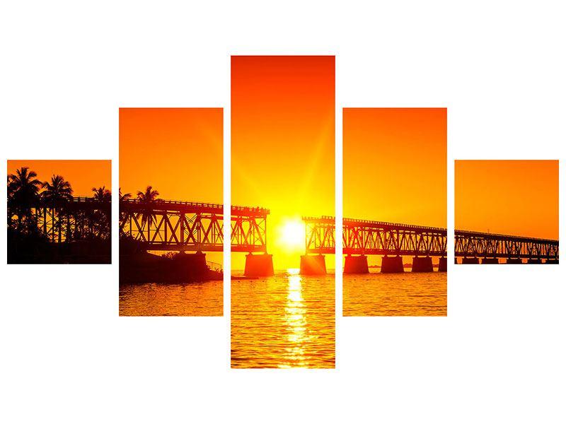 Hartschaumbild 5-teilig Sonnenuntergang an der Brücke