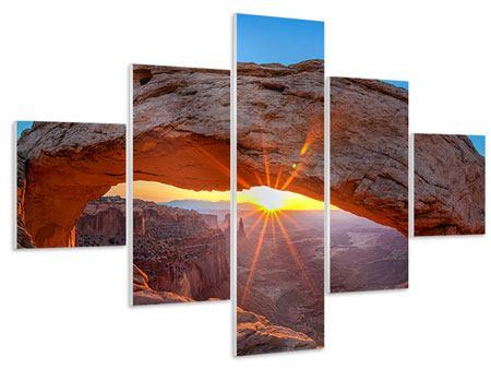 Hartschaumbild 5-teilig Sonnenuntergang am Mesa Arch
