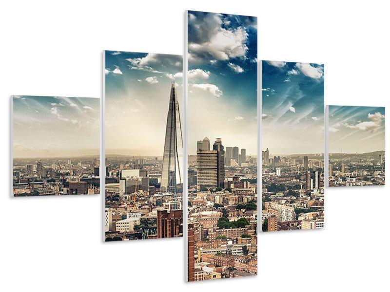 Hartschaumbild 5-teilig Skyline Über den Dächern von London