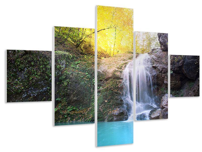Hartschaumbild 5-teilig Fliessender Wasserfall