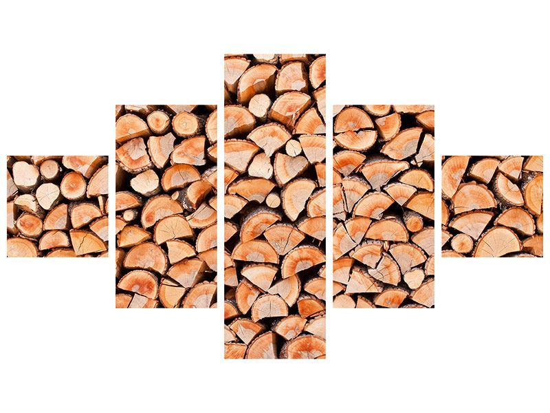 Hartschaumbild 5-teilig Birkenstapel