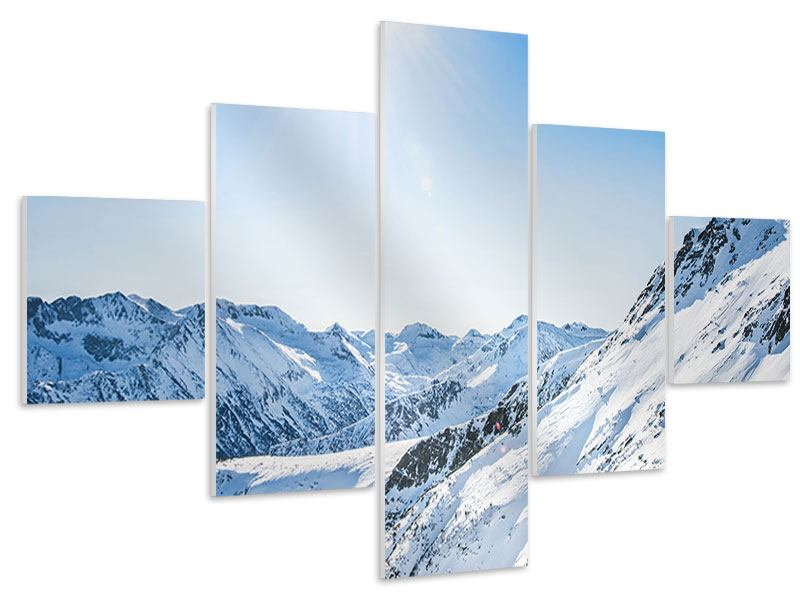Hartschaumbild 5-teilig Bergpanorama im Schnee