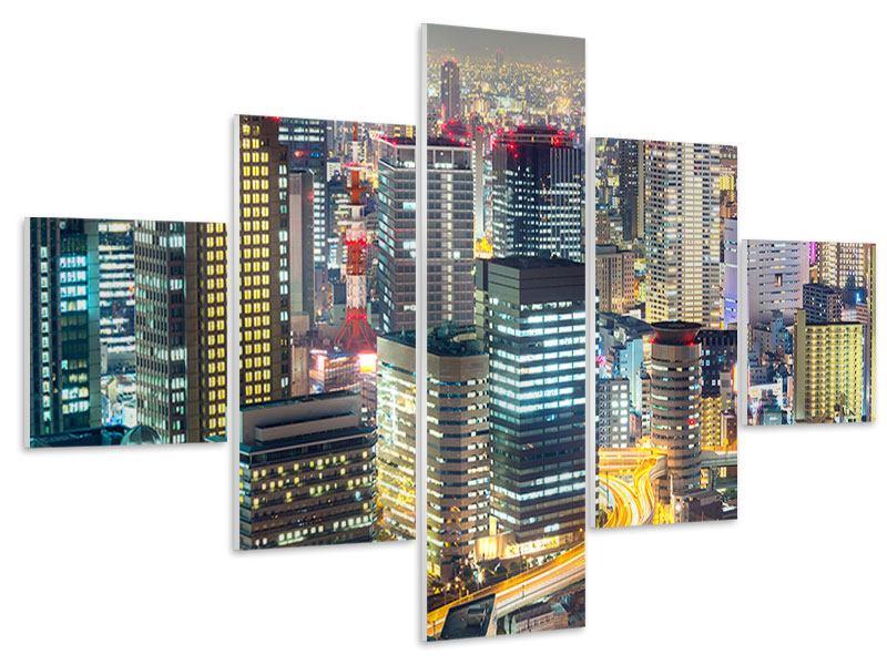 Hartschaumbild 5-teilig Skyline Osaka im Lichtermeer