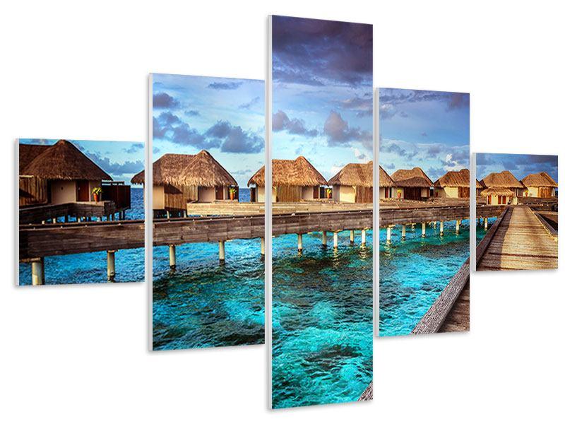 Hartschaumbild 5-teilig Traumhaus im Wasser