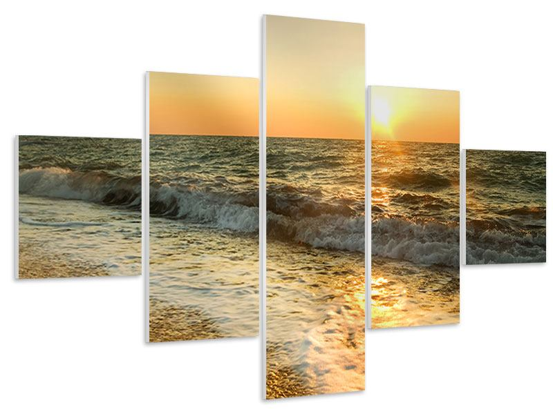 Hartschaumbild 5-teilig Sonnenuntergang am Meer