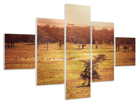 Hartschaumbild 5-teilig Malerisches Afrika