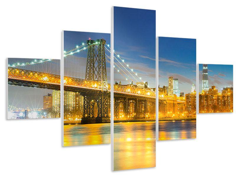 Hartschaumbild 5-teilig Brooklyn Bridge bei Nacht