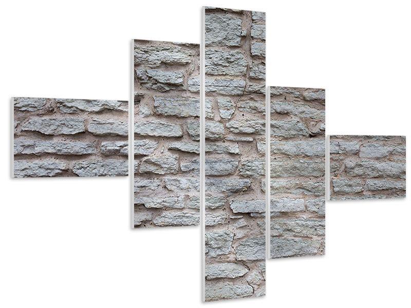 Hartschaumbild 5-teilig modern Steinmauer
