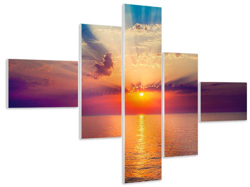 Hartschaumbild 5-teilig modern Mystischer Sonnenaufgang