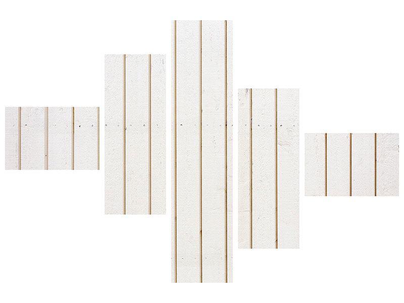 Hartschaumbild 5-teilig modern Mediterranes Holz