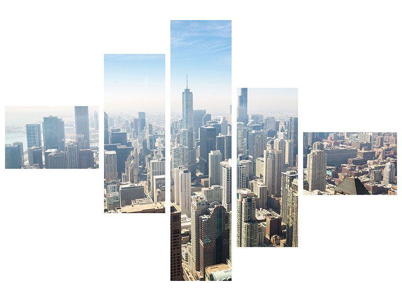 Hartschaumbild 5-teilig modern Wolkenkratzer Chicago