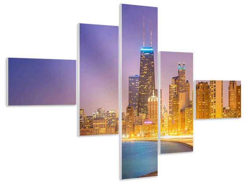 Hartschaumbild 5-teilig modern Skyline Chicago in der Nacht