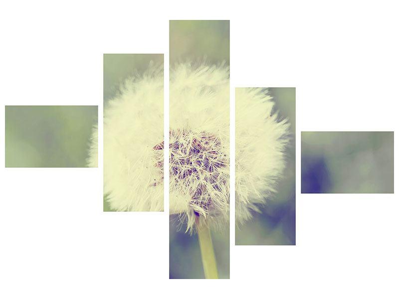 Hartschaumbild 5-teilig modern Die Pusteblume