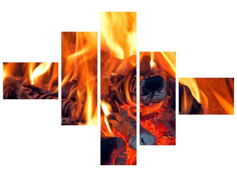 Hartschaumbild 5-teilig modern Lagerfeuer