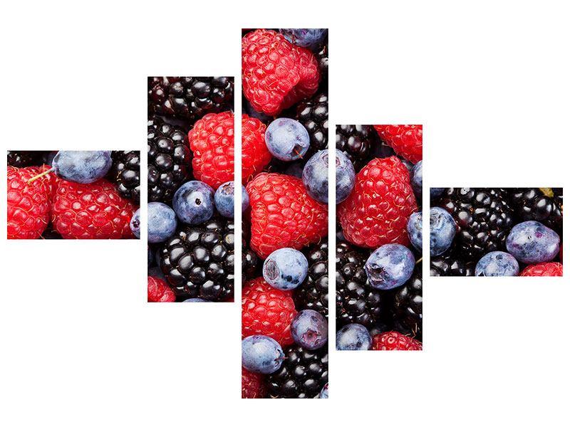 Hartschaumbild 5-teilig modern Beeren