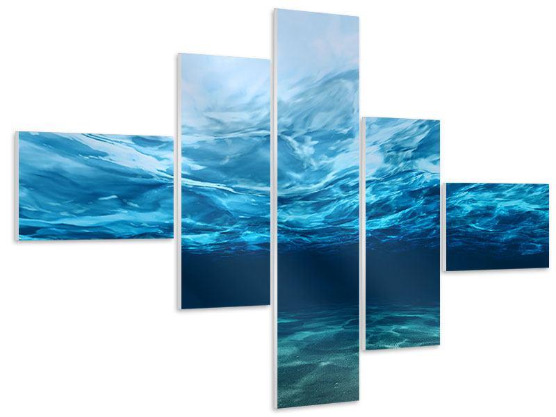 Hartschaumbild 5-teilig modern Lichtspiegelungen unter Wasser