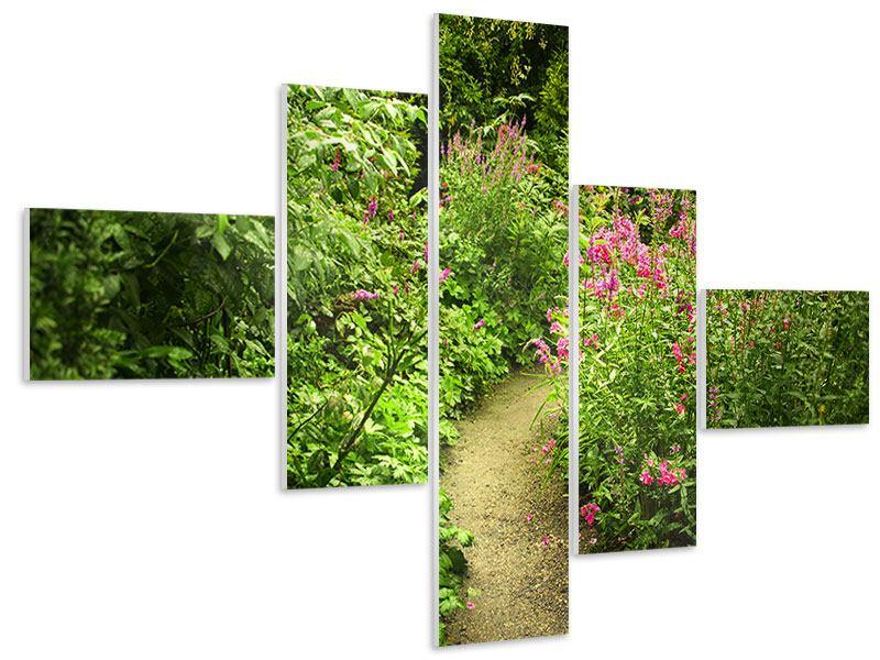 Hartschaumbild 5-teilig modern Gartenweg