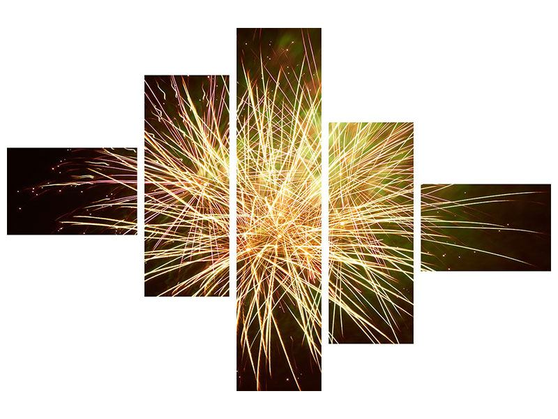 Hartschaumbild 5-teilig modern Feuerwerk XXL