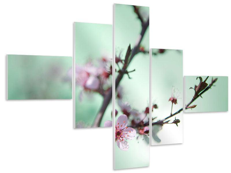 Hartschaumbild 5-teilig modern Die japanische Kirschblüte
