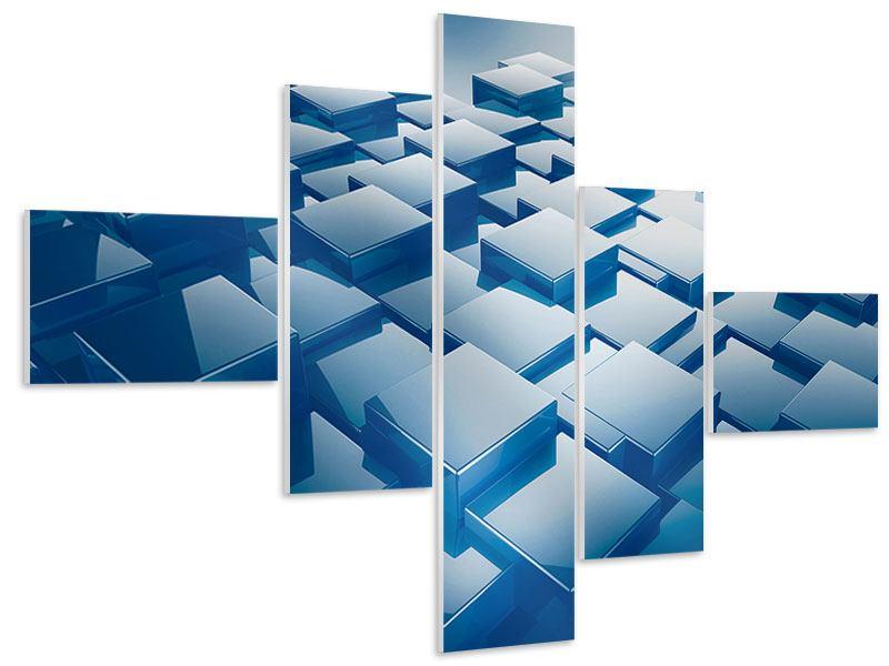 Hartschaumbild 5-teilig modern 3D-Cubes