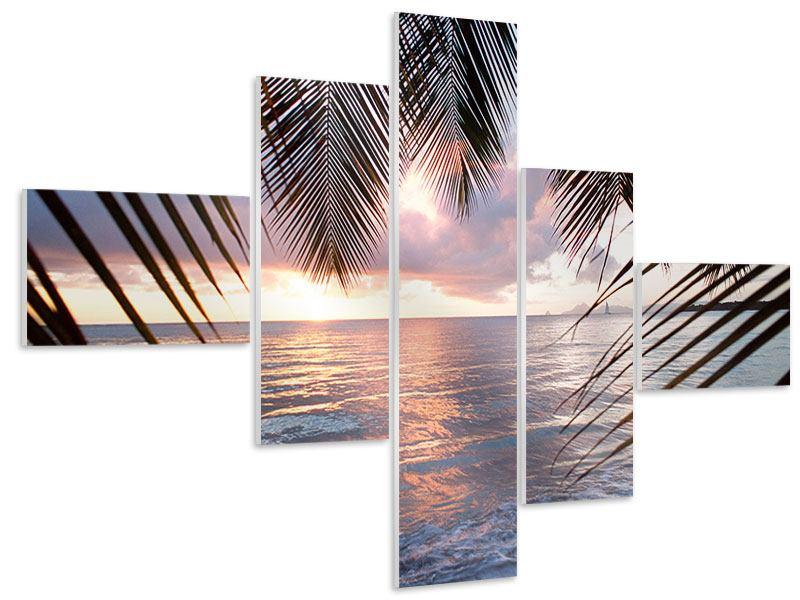 Hartschaumbild 5-teilig modern Unter Palmenblätter