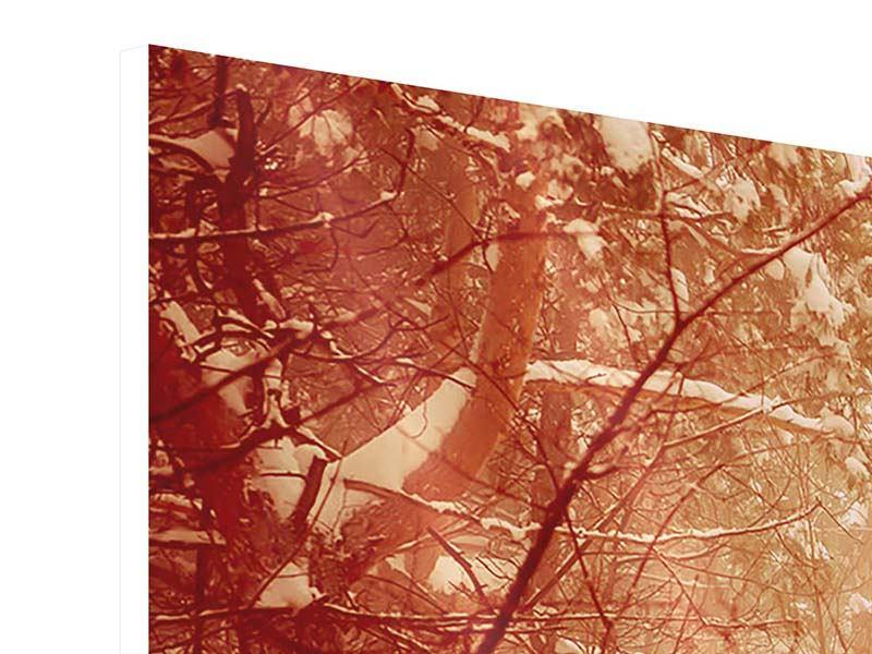 Hartschaumbild 5-teilig modern Schneewald